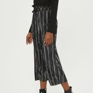 Topshop metallic striped plisse pants